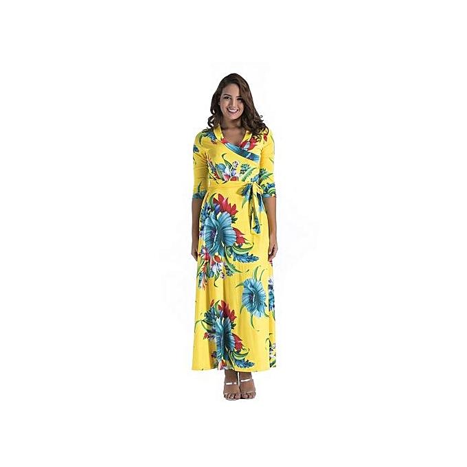 Fashion femmes Elegant Midi-Sleeve V-neck Slim Print Floral Autumn Dresses Party Odycon Floot Length Maxi Dresses-jaune 02 à prix pas cher