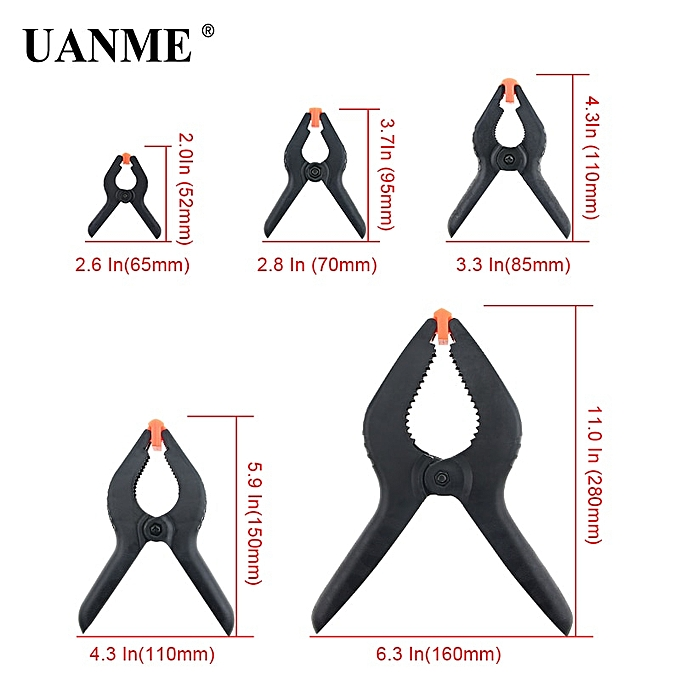 Autre 2 -9  Heavy Duty Plastic Nylon Spring Clamps Clip Jaw Opening Craft Photo Clip for Woodworking Tools(  76.2mm) à prix pas cher