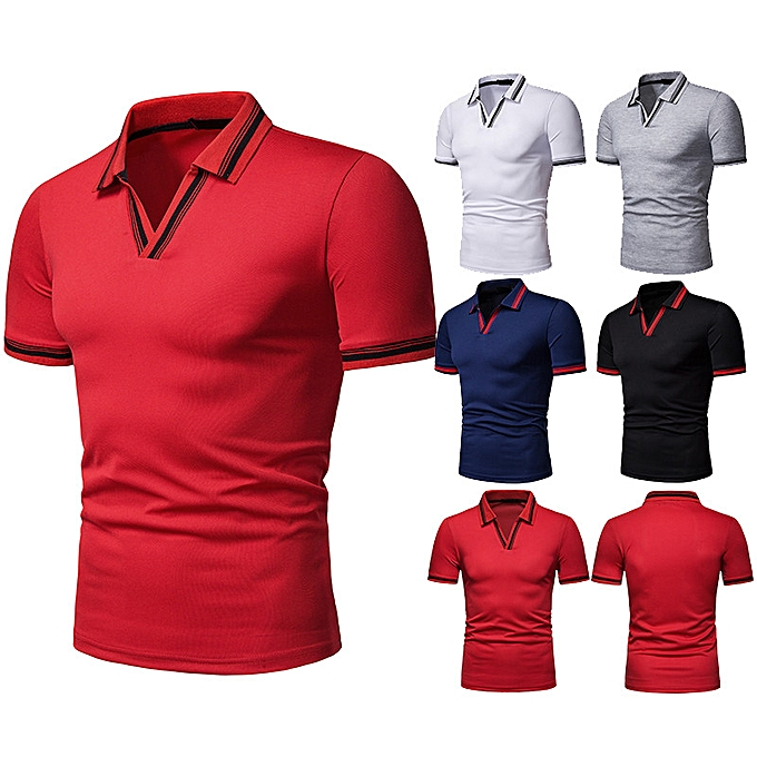 Fashion whiskyky store Summer Fashion Men's Casual Stand Collar Button Short Sleeve Top Blouse à prix pas cher