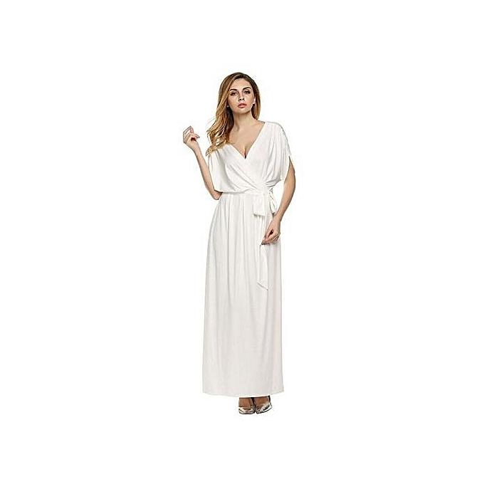 Generic Deep V Wrapped Long Dress With Waist Belt (blanc) à prix pas cher