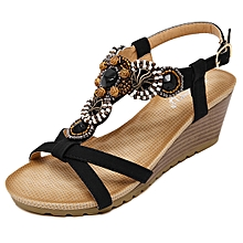 9504d5e4e8750e Refined Large Size New Ethnic Women Sandals Bohemian Beaded Comfort Buckle  Wedge Sandals Shoes-black