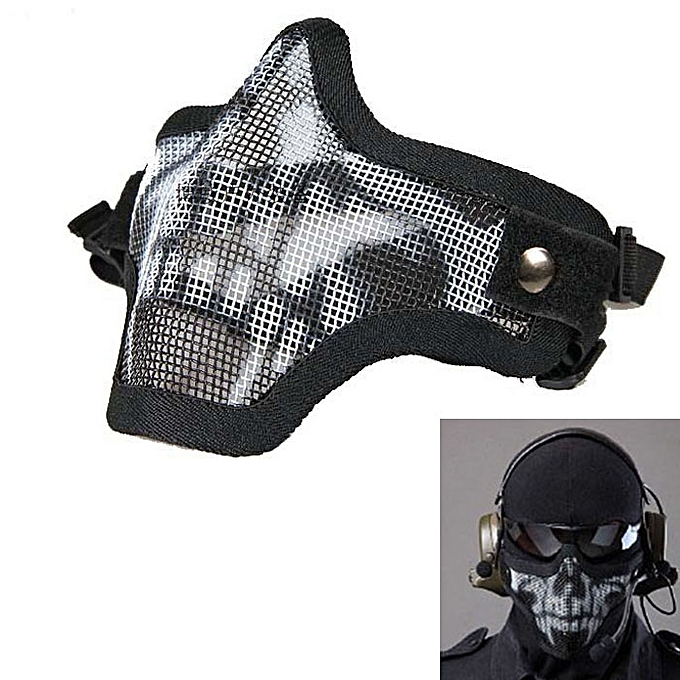 GENERAL yingwaias Strike Metal Mesh Prougeective Mask Half Face Tactical Airsoft Military Mask BK1 à prix pas cher