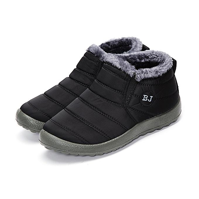 Fashion Winter Warm Wool Lining Slip On Flat Ankle Snow bottes For femmes noir à prix pas cher    Jumia Maroc