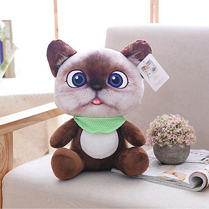 Autre 20cm Cute Soft 3D Simulation Stuffed Cat Toys Double side Seat Sofa Pillow Cushion Kawaii Plush Animal Cat Dolls Toys Gifts(3) à prix pas cher