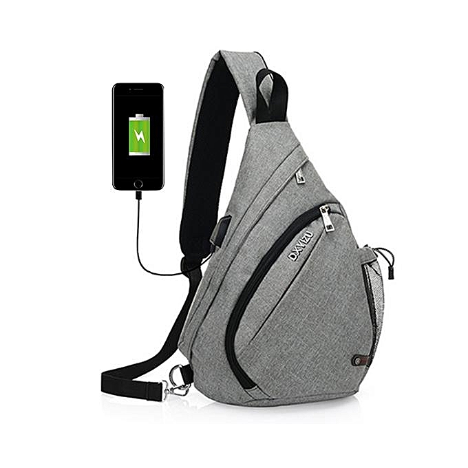 UNIVERSAL Men Outdoor Sport Bag Swagger Bag Casual Sling Bag with USB Charging Port for Leisure light gris à prix pas cher