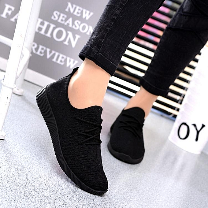 Fashion femmes Casual sport chaussures Athletic baskets Running Breathable Mesh walking Flat noir-EU à prix pas cher    Jumia Maroc