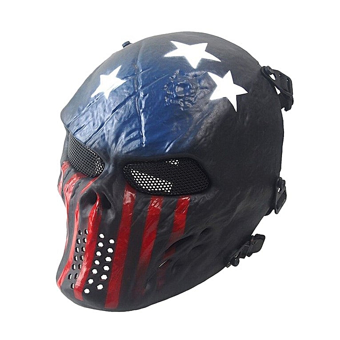 Generic Field EquipHommest Mask bleu And rouge Tactical Airsoft Mask Full Face Skull à prix pas cher