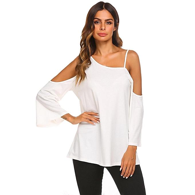 Sunshine Femmes hommeches longues épaule froide Solid chemise lâche Chemisier à prix pas cher