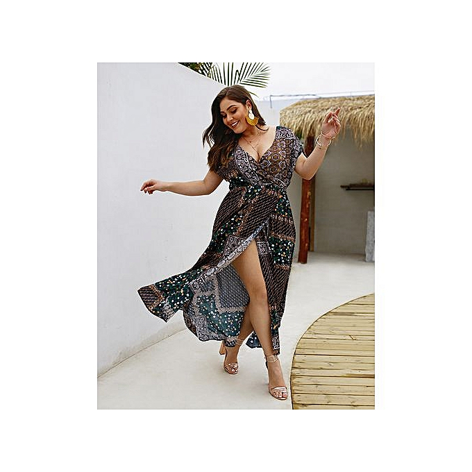 GeneAfrica bleu Plus Taille Vestidos Ladies Robees à prix pas cher