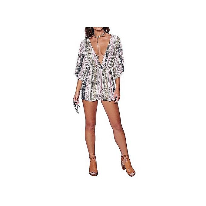 Fashion YOINS New 2016 femmes Fashion Floral Stripe Print Plunging V Neck Jumpsuit Romper Casual 3 4 Sleeve Playsuit With T-bar Strap à prix pas cher