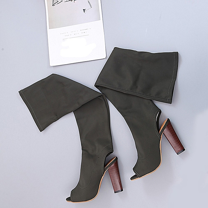 Générique Sedectres WoHommes Faux  Stretch Faux WoHommes Slim Peep Toe High Boots Over The Knee Boots High Heels Shoes-Army Green à prix pas cher  | Black Friday 2018 | Jumia Maroc a0374a