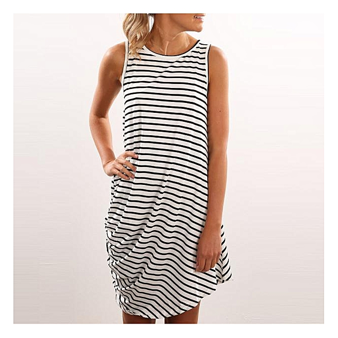 Fashion meibaol store femmes Summer Dress Stripe Sundress Casual Loose Maxi Dresses Vest Top WH L à prix pas cher