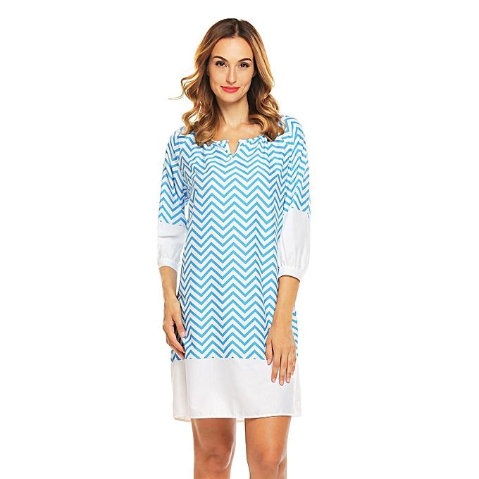 Sunshine bleu Mix Cotton O-Neck Lantern Sleeve Dress For femmes à prix pas cher