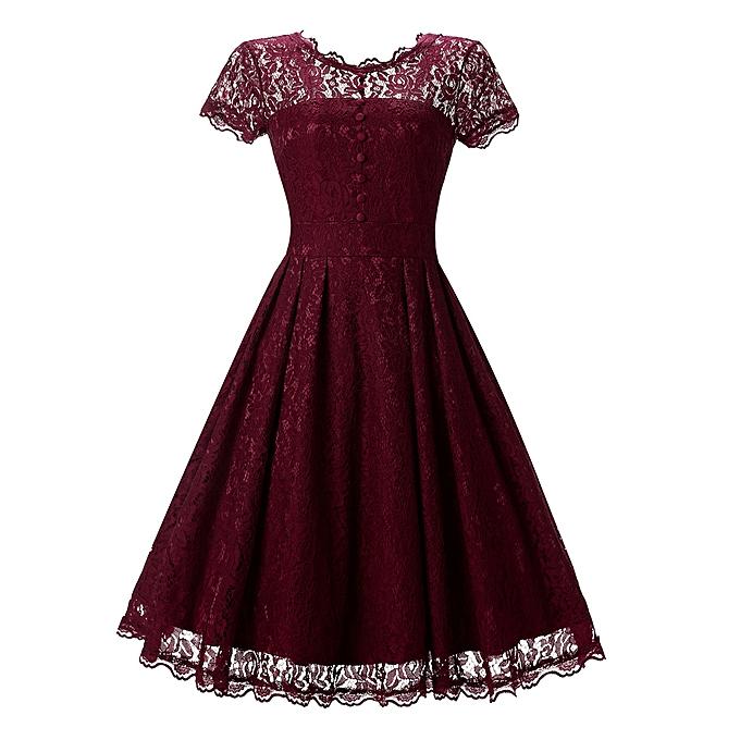 Fashion femmes Floral Lace Short Sleeve Vintage Lady Party Swing Bridesmaid Dress rouge à prix pas cher