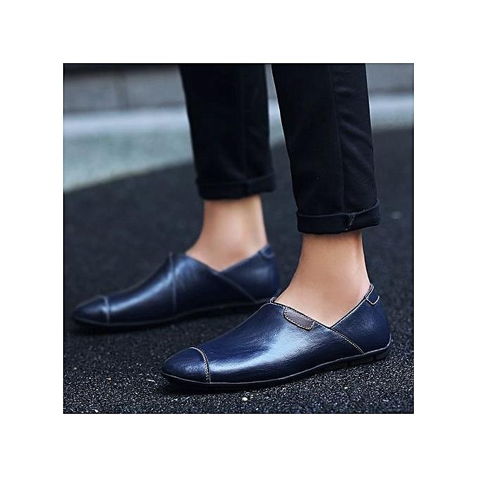 Fashion Plus Size Size Plus Leather Shoes Comfortable Loafer Flats-Blue à prix pas cher  | Jumia Maroc 3054bf
