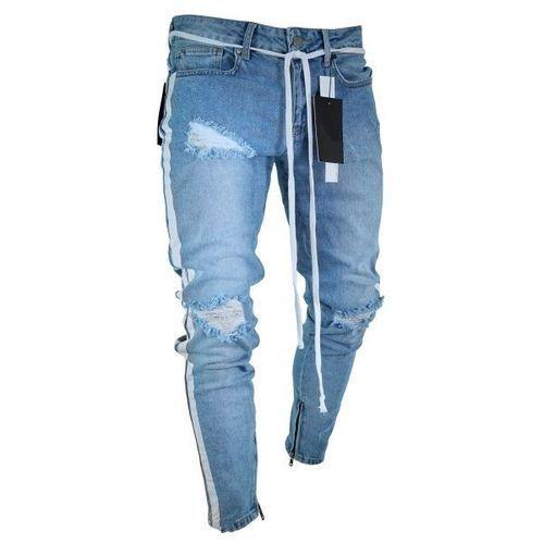 de732a21bf76b6 Men 's Knee Hole Skinny Jeans Stretch Denim Trousers Zipper Biker  Motorcycle Trousers-blue