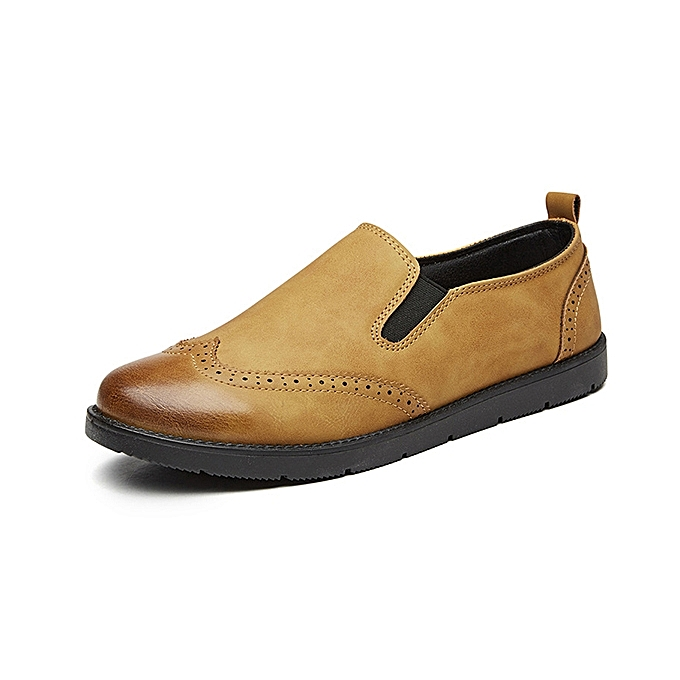 Fashion Men Genuine Leather Casual Brogue Style Slip On Oxfords Comfy Loafers chaussures à prix pas cher