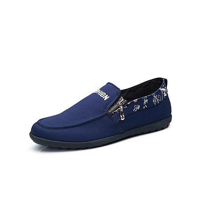 Generic Canvas chaussures Men 2017 Lazy chaussures bleu gris vert Canvas Moccasin Men Slip On Loafers Washed Denim Casual Flats-bleu à prix pas cher