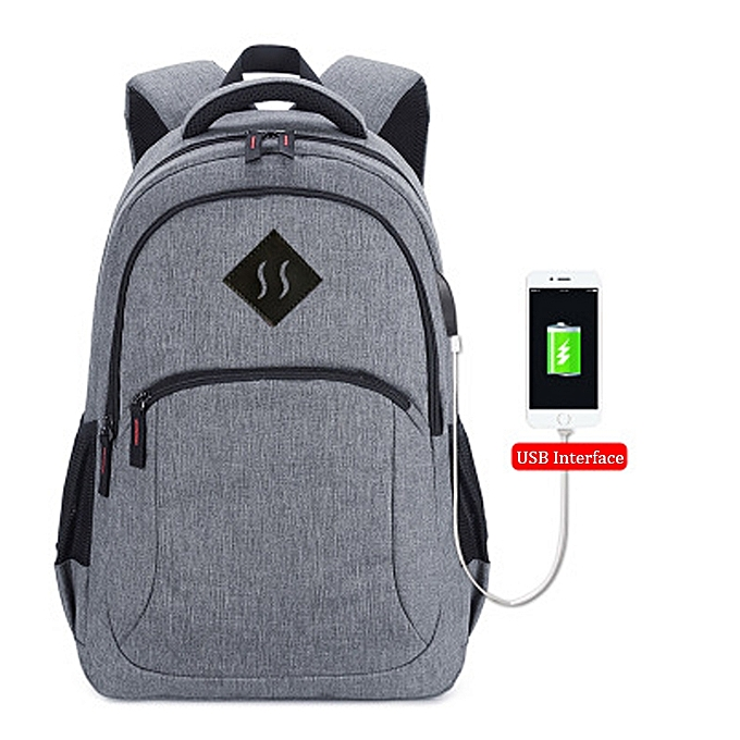 Fashion Men Travel Backpack Waterproof Book Bag For Student With USB -gris à prix pas cher
