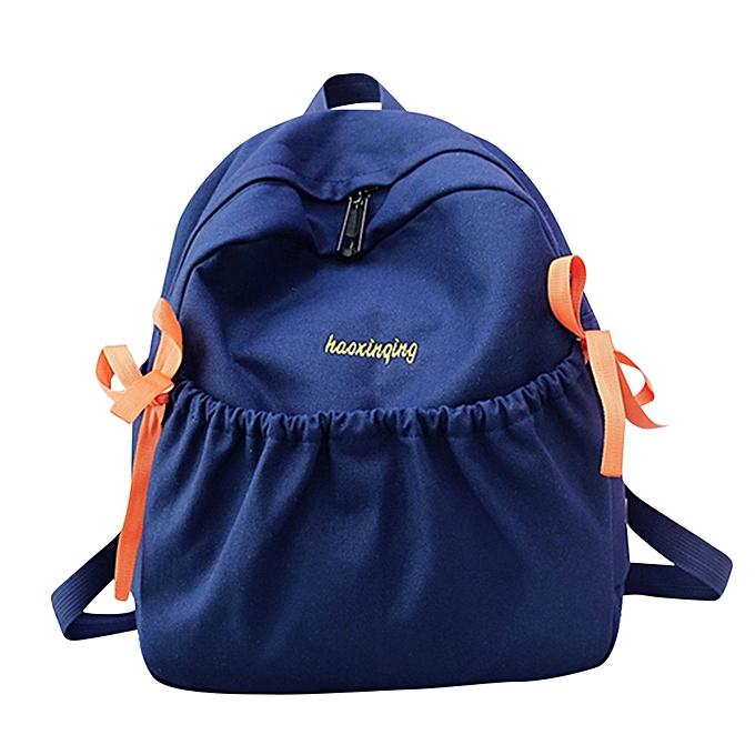 mode Tcetoctre femmes Girl Bow toile sac à dos Double Shoulder sac voyage School sac-Dark bleu à prix pas cher