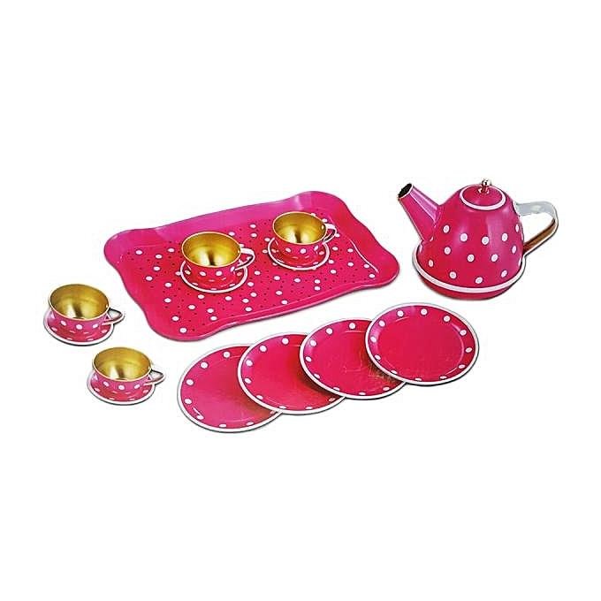Generic Jeu Set-Tea Party 14PCS pour Enfants métallique Théière, Grand plateau , Petits plats, Grands plats,Tasses 3ans+ à prix pas cher