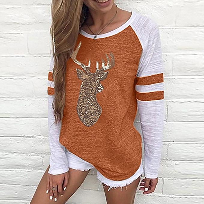 mode Festival Christmas femmes Reindeer chemisiers T-shirt Xmas manche longue hauts OR XL à prix pas cher