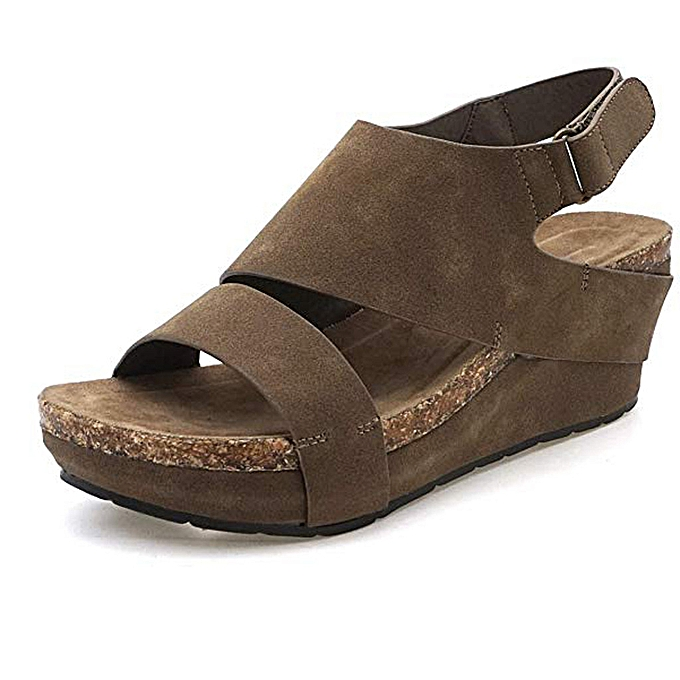 Fashion TEC Stylish Platformed Wedges Open Toe AdjustableAnkleRohomme Sandals à prix pas cher
