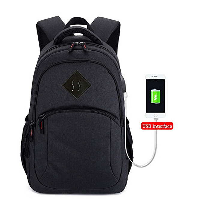 Fashion Men Travel Backpack Waterproof Book Bag For Student With USB -noir à prix pas cher