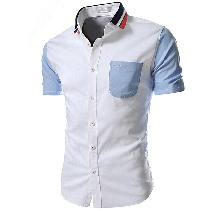Fashion jiuhap store Men Shirt Fashion Solid Couleur Male Casual Short Sleeve Shirt WH L à prix pas cher