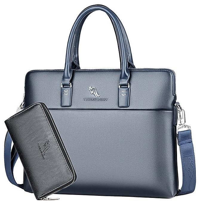 Other Portable Work Business Office Male Messenger Bag Men Briefcase For Document Laptop Computer Handbag Shoulder Brief Case Satchel(bleu with Wallet) à prix pas cher