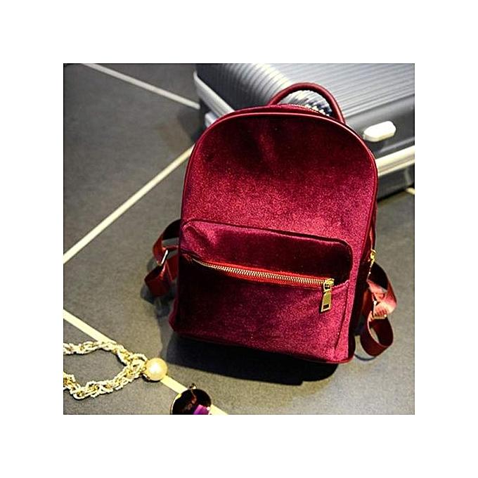 Fashion Hiamok_femmes or Velvet Small Rucksack Backpack School Book Shoulder Bag RD à prix pas cher