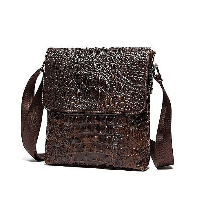 Other Leather Brand shoulder bags Designer men Crossbody Bag Crocodile pattern Shoulder Bags Vintage Small square Bag Handbag(marron9881) à prix pas cher