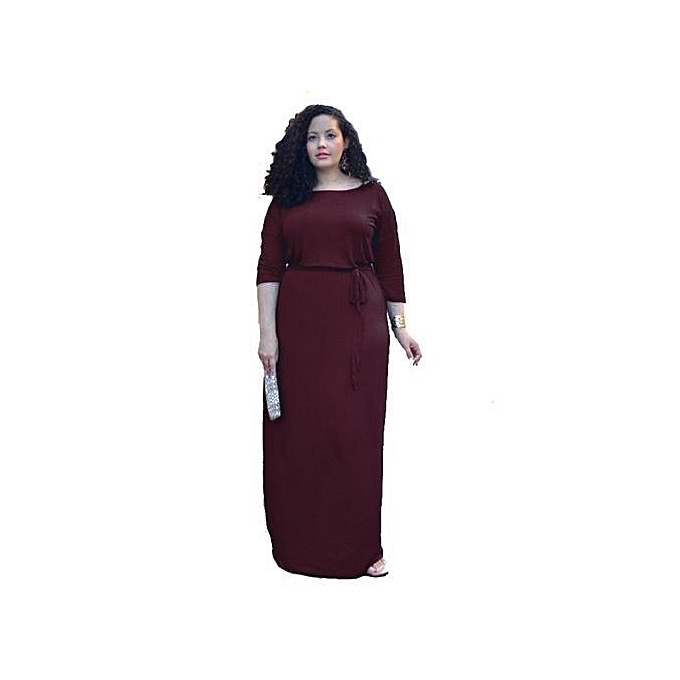 Fashion Dresses For Ladies Big Taille Dress O-neck Slimming Elegant Casual Dress-wine rouge Multipurpose Five Points Sleeve-wine rouge à prix pas cher