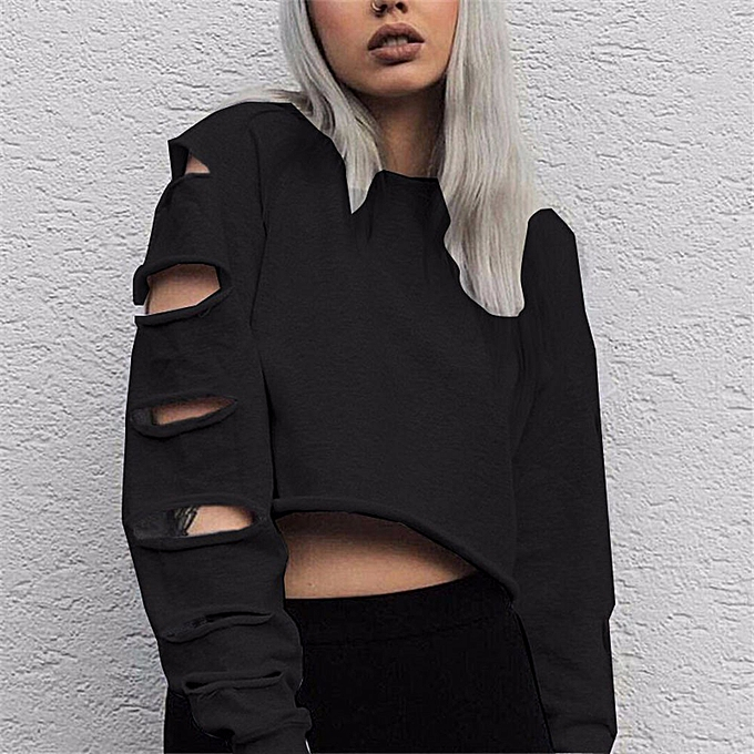 Fashion (Xiuxingzi) femmes Long Sleeve Hollow Hole Short Sweater Shirt Blouse Tops BK L à prix pas cher