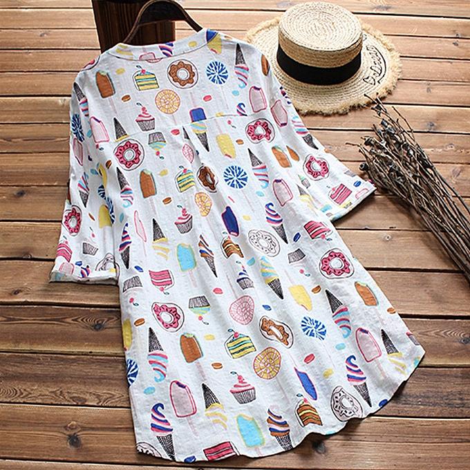 Zanzea Plus femmes voituretoon Floral Print Long Shirt hauts Asymmetrical Loose Tunics chemisier à prix pas cher