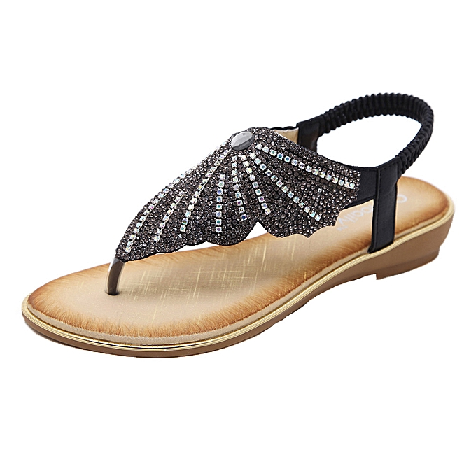 Fashion Jiahsyc Store femmes Bohe Fashion Flat Large Taille Rhinestone Casual Sandals Beach chaussures-noir à prix pas cher    Jumia Maroc