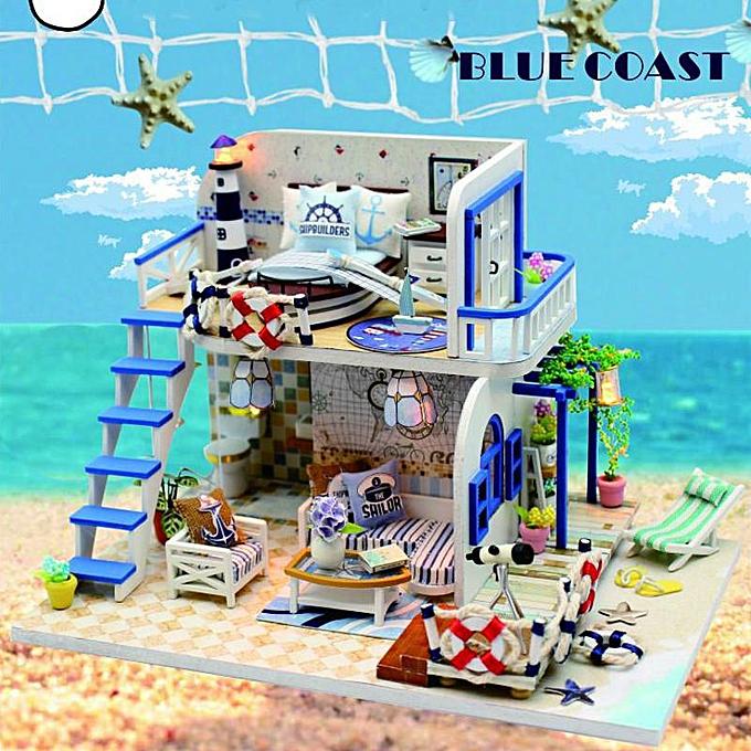 OEM Maison de poupée bricolage miniature LED plage extérieure LOFT appartements meubles bleu House à prix pas cher