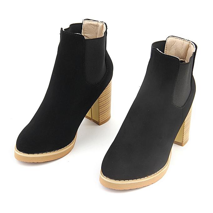 Generic TB Fashion Female Round Head PU Leather Ankle bottes High Heeled Martin-noir à prix pas cher    Jumia Maroc