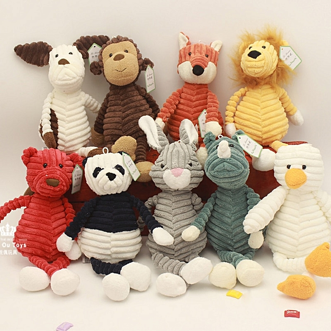 Autre   Elephant Lion Fox Rabbit Pig Panda Duck Monkey Soft Stuffed Toys Cute Torest Animal Plush Toy For Enfants Stripe(duck) à prix pas cher