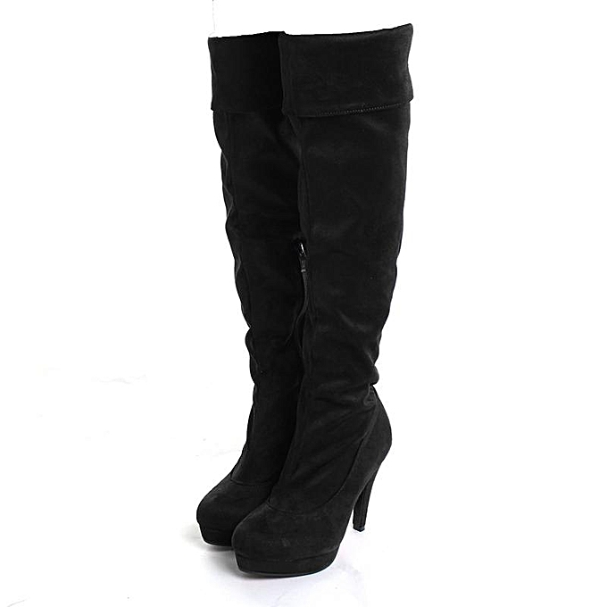Fashion Wo  Stilettos Thigh High Slouch Over The Knee Knee Knee Shoes Leg Suede Boots Cosplay Noir  à prix pas cher    Jumia Maroc f24512