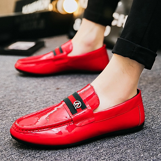 Other Spring Bright Leather Lazy Bean chaussures  Casual chaussures-rouge à prix pas cher