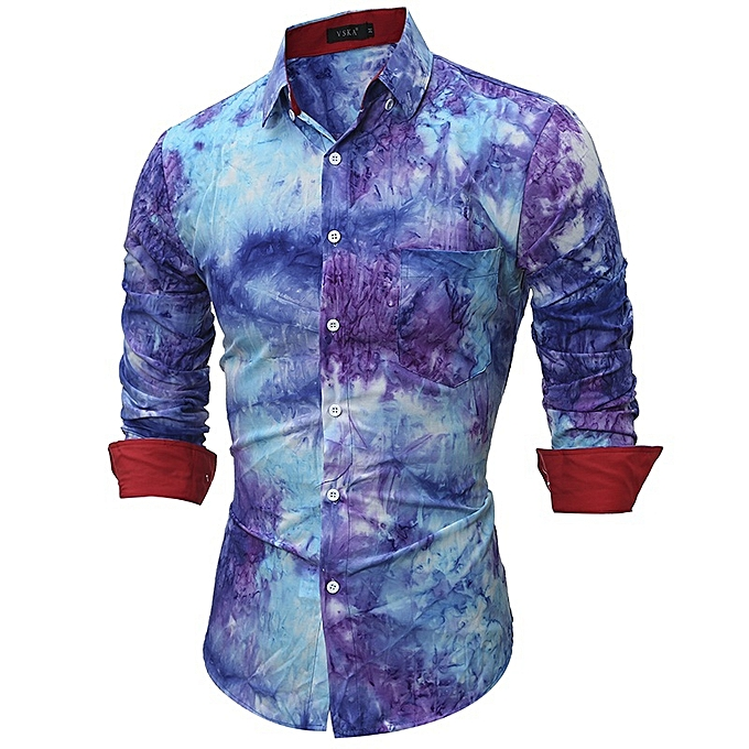 Other New Stylish Men's 3D Long-sleeved Shirt Colliding Couleur à prix pas cher