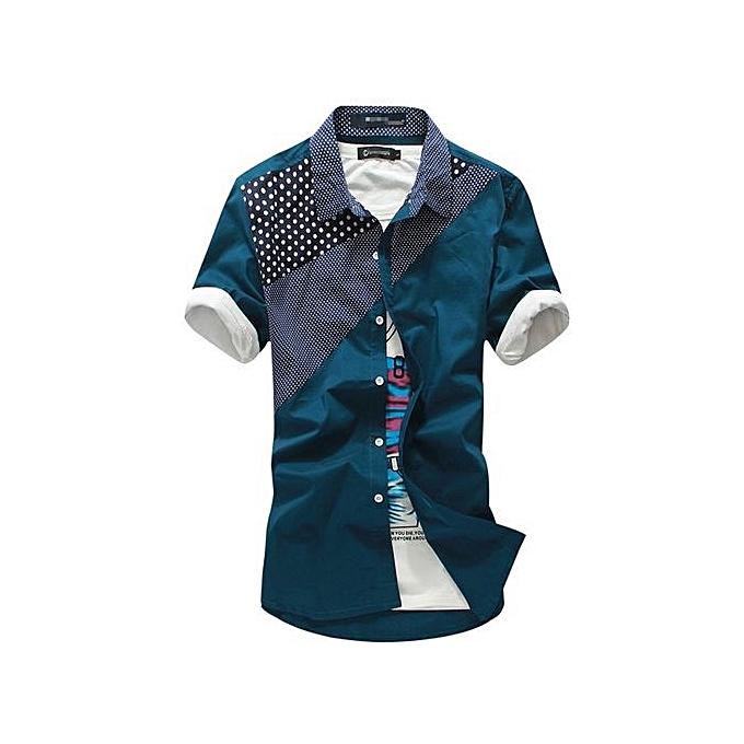 mode Male manche courte Hawaiian Shirts Décontracté Metal Buckle Hit Couleur Slim Fit noir Pour des hommes Robe Shirts à prix pas cher