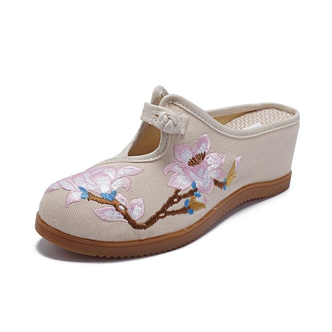 Fashion femmes Flower Embroidery Comfortable Casual Wedge Sandals à prix pas cher