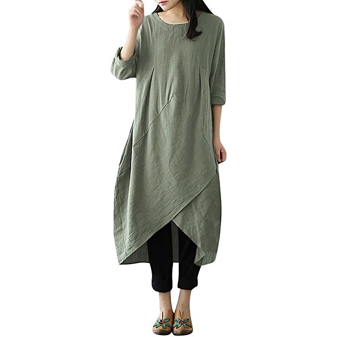 Generic Xiuxingzi femmes Vintage manche longue Tunic sacgy Long Maxi Robe Plus Taille à prix pas cher