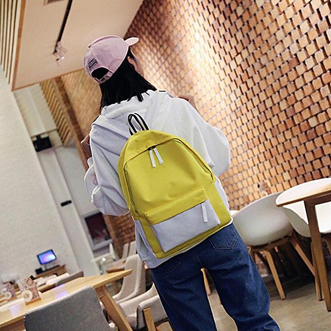 Fashion Tcetoctre Unisex Panelled Backpack School travel Double Shoulder Bag Zipper Bag-jaune à prix pas cher