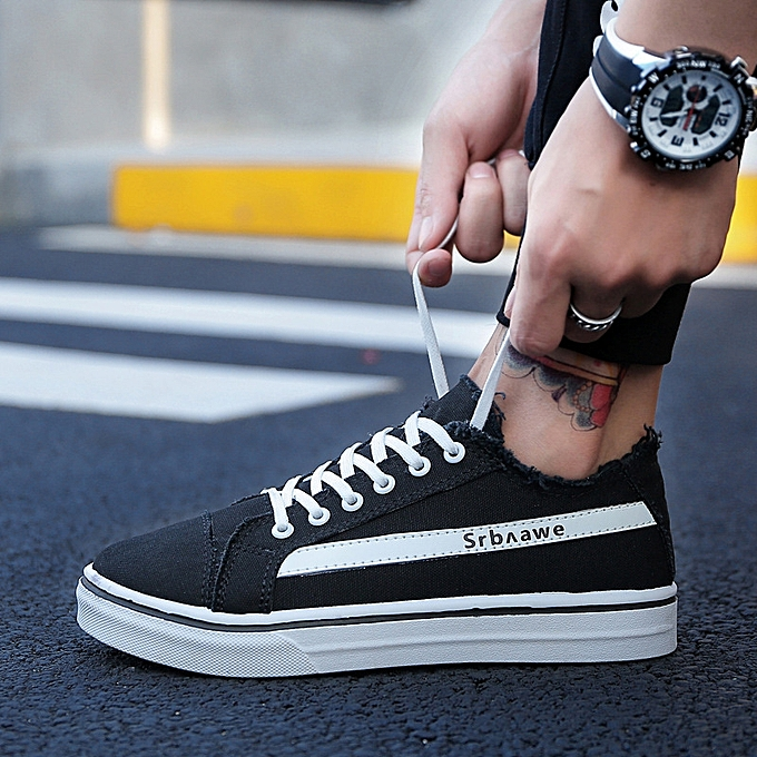 OEM New Korean canvas chaussures trend personality chaussures hommes casual sports increased single chaussures-noir à prix pas cher