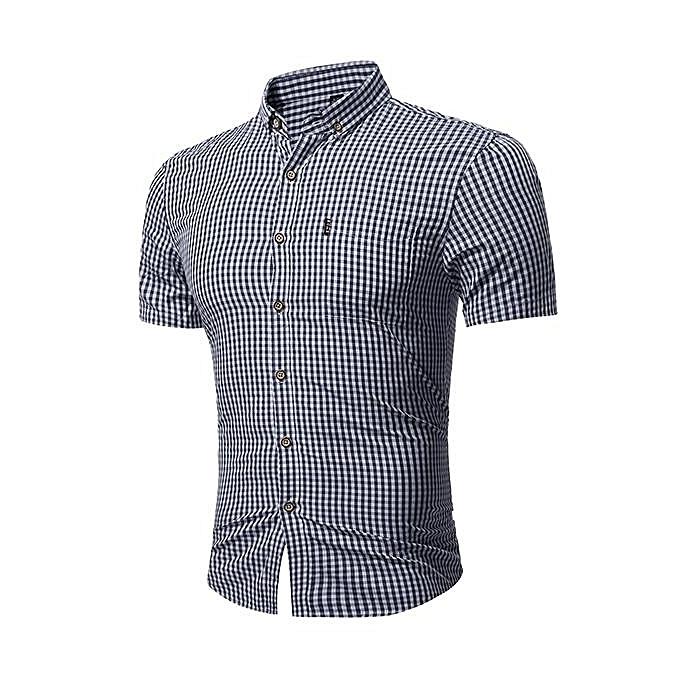 mode Pour des hommes Slim Fit été Classic Turn-down Couleur petit Plaid impression manche courte Décontracté Shirt noir à prix pas cher