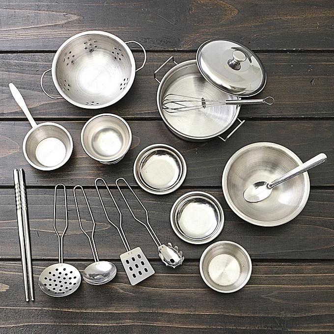 OEM 16pcs en acier inoxydable maison de jeu mini cuisine modèle cuisine jouet jouet enfant cadeau de noël à prix pas cher
