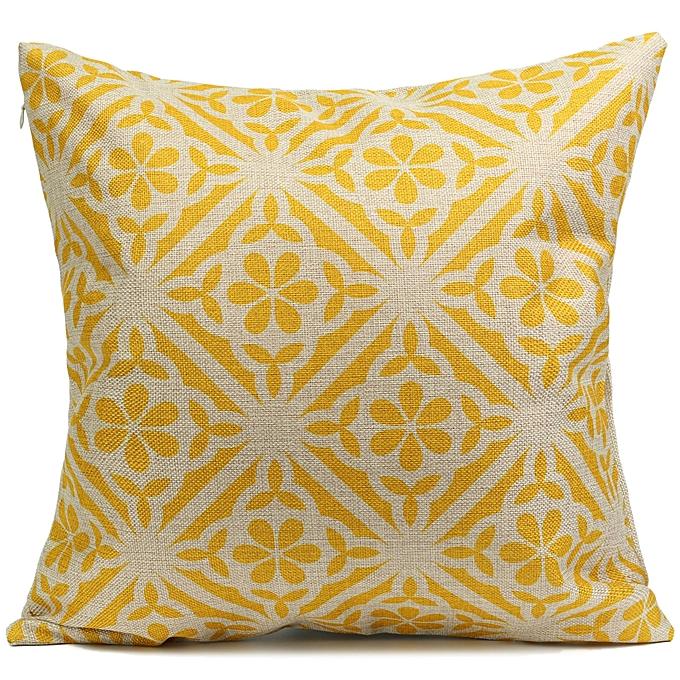 UNIVERSAL 6Pcs Retro jaune Flower Cotton Linen Pillow Case Cushion Cover Home Sofa Back Throw à prix pas cher